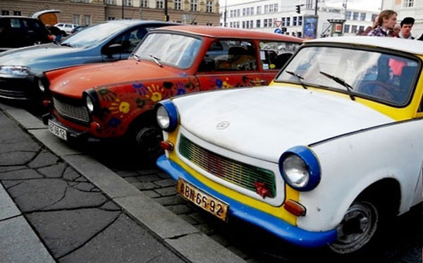 Trabant driving prague stag premium
